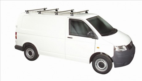 Volkswagen VW T5 Rhino 4 Bar Van Roof Bars System Using T Track Lwb Tailgate Rear Door T54TD-B44
