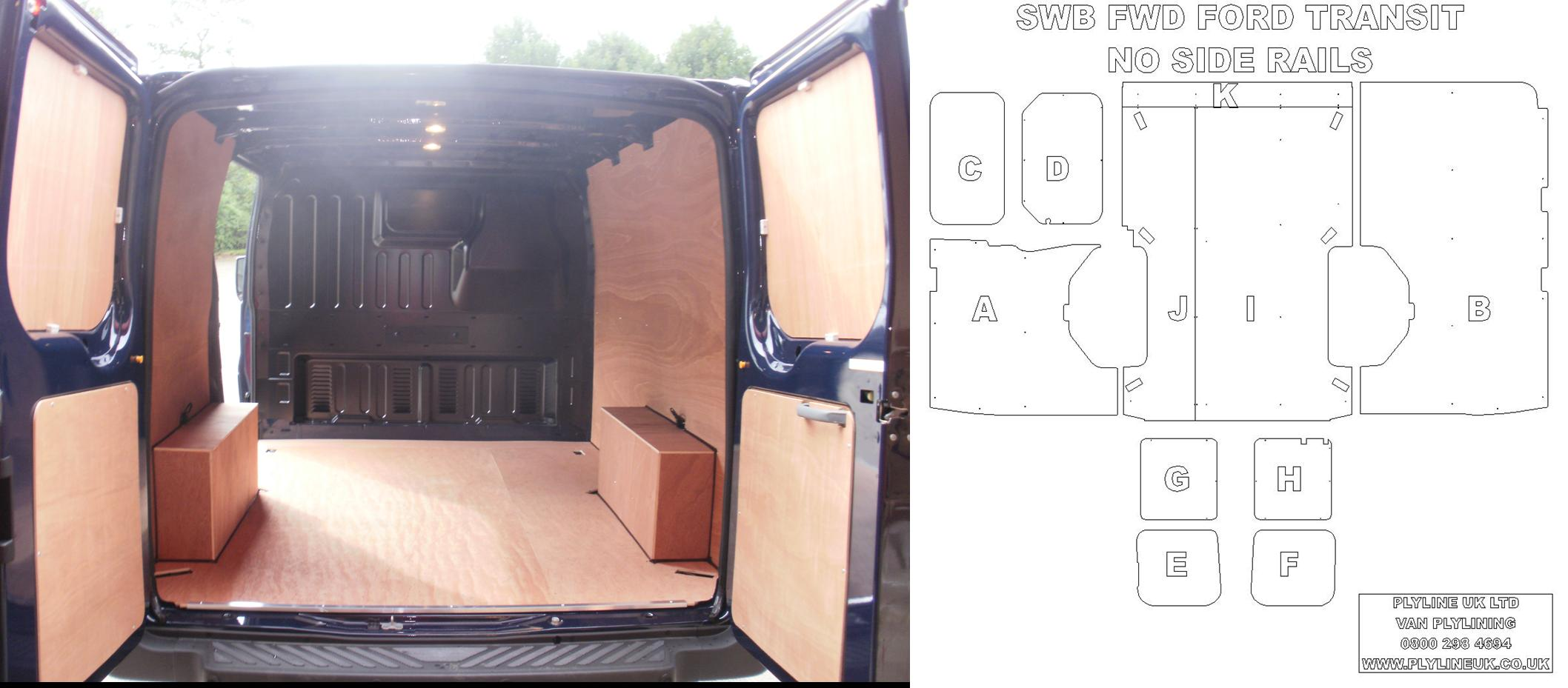 Short wheel base fwd ford transit plyline kit without side for Van ply lining templates