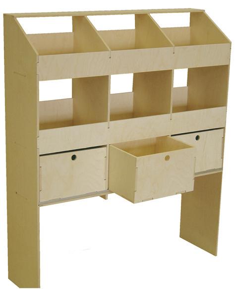 Wooden Rack Six Pigeon Hole Unit With Drawers 300mm Deep Vl100c3 Plyline Uk Ltdplyline Uk Ltd