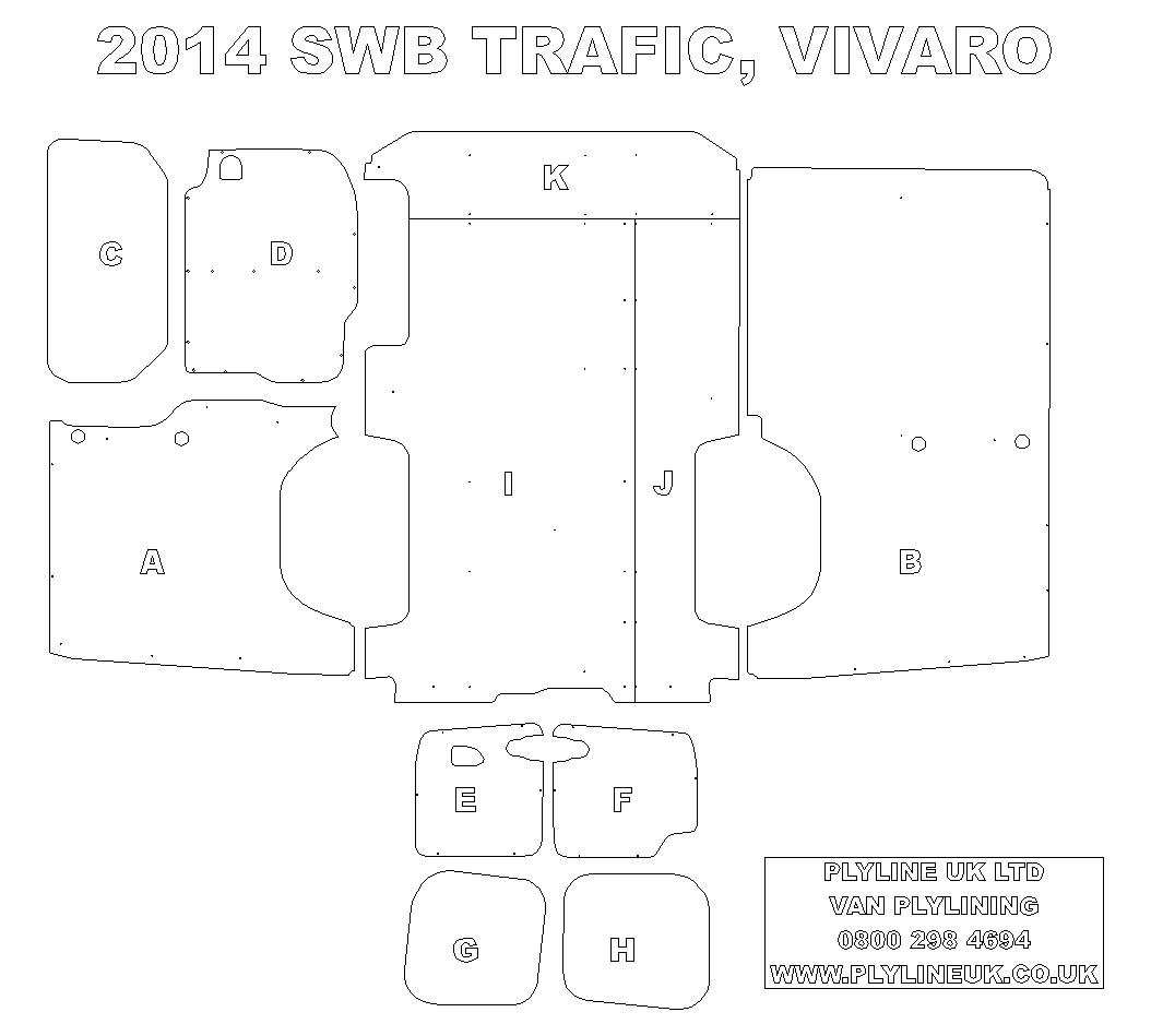 2014 on new shape swb renault trafic vauxhall vivaro for Van ply lining templates