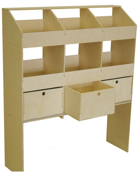 Plywood Shelving and Racking Six Pigeon Hole Unit With Drawers 400mm Deep VL100C4