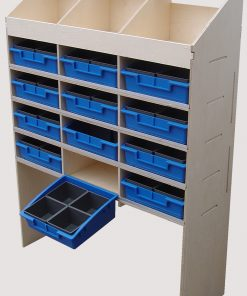 Plywood Shelving and Racking Three Pigeon Hole Unit 300mm Deep and Twelve Compartments with Plastic Bins VL100E3